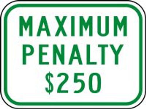 (N. Carolina) Maximum Penalty $250 Sign