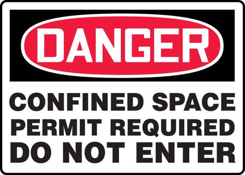 Danger - Confined Space Permit Required Do Not Enter - Adhesive Dura-Vinyl - 14'' X 20''