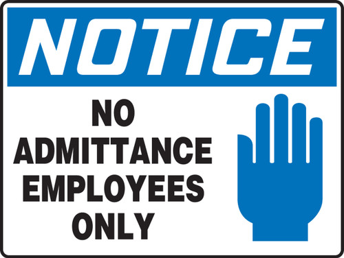 Notice - No Admittance Employees Only (W/Graphic) - Accu-Shield - 10'' X 14''