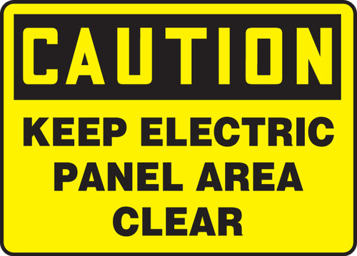 Caution - Keep Electric Panel Area Clear - Adhesive Dura-Vinyl - 10'' X 14''