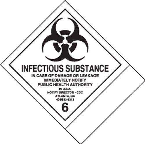 Infectious Substance Dot Shipping Label- Blank
