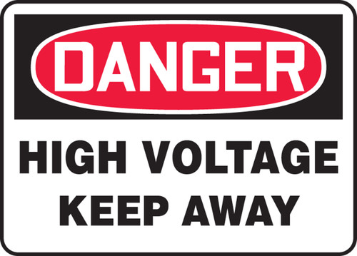 Danger - High Voltage Keep Away - Adhesive Vinyl - 14'' X 20''