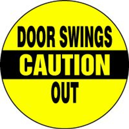 "Door Swings Out Sign- Adhesive Vinyl- 6"" X 6"""