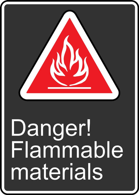 Danger Flammable Materials (Danger Matieres Inflammables) - Adhesive Vinyl - 14'' X 10''