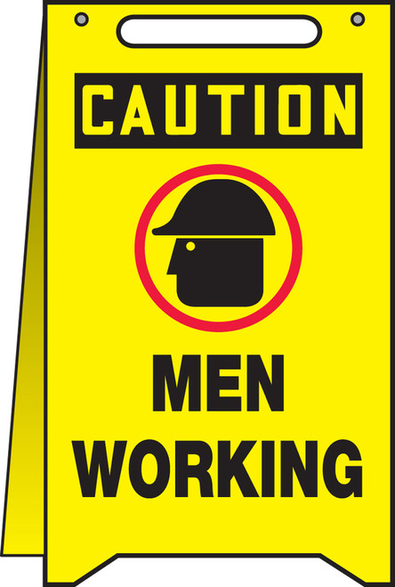 Caution Men Working Fold Up Sign (w/graphic)