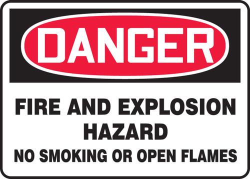 Danger - Danger Fire And Explosion Hazard No Smoking Or Open Flames - Adhesive Dura-Vinyl - 7'' X 10''