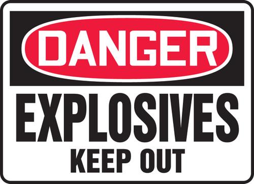 Danger - Explosives Keep Out (Glow) - Adhesive Vinyl - 10'' X 14''