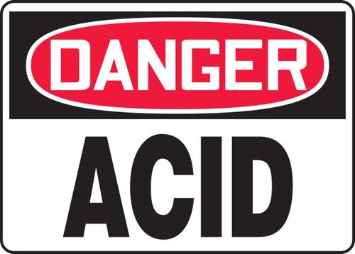 Danger - Acid - .040 Aluminum - 10'' X 14''