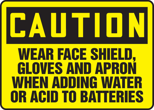 Caution - Wear Face Shield, Gloves And Apron When Adding Water Or Acid