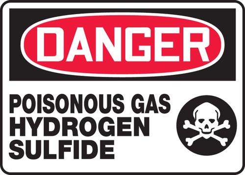 Danger - Poisonous Gas Hydrogen Sulfide (W/Graphic) - Adhesive Dura-Vinyl - 10'' X 14''