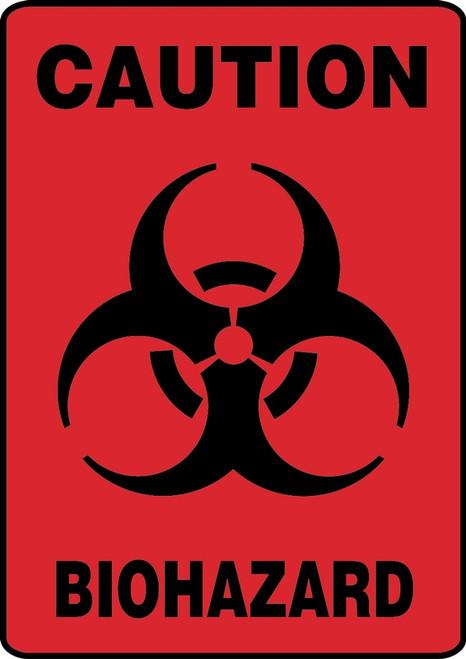 Caution Biohazard (W/Graphic) - Adhesive Dura-Vinyl - 10'' X 7''