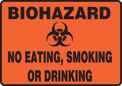 Biohazard No Eating, Smoking, Or Drinking Sign