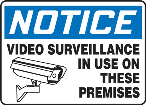 Notice - Video Surveillance In Use On These Premises (W/Graphic) - Adhesive Dura-Vinyl - 10'' X 14''