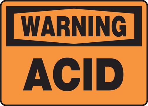 Warning - Acid - Plastic - 10'' X 14''