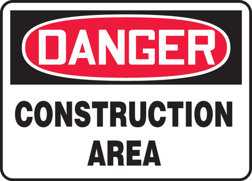Danger - Construction Area - Adhesive Vinyl - 14'' X 20''