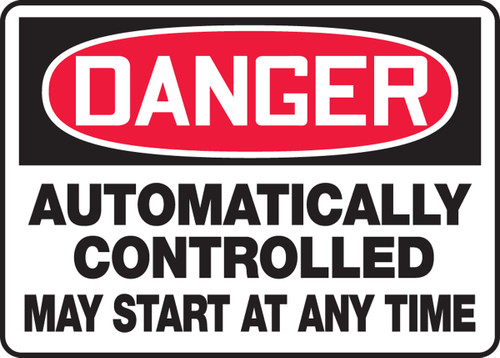 Danger - Automatically Controlled May Start At Any Time
