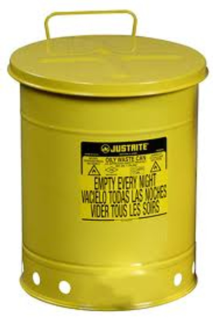 Yellow Oily Waste Can- 6 Gallon w/ Hand Operated Cover