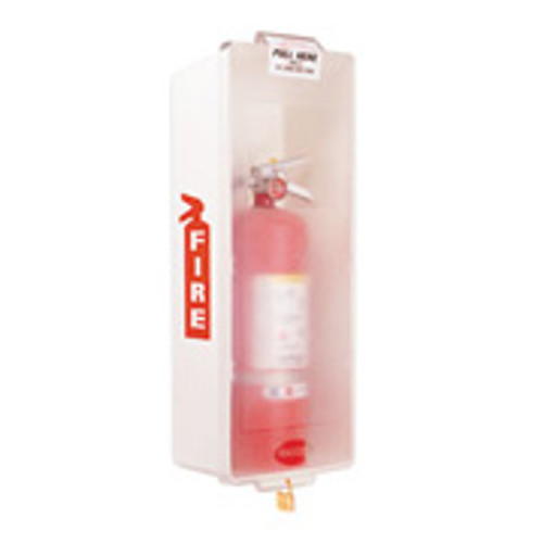 """Fire Extinguisher Cabinet- White Plastic -Indoor- Holds up to a 16 3/4"""" H Extinguisher"""