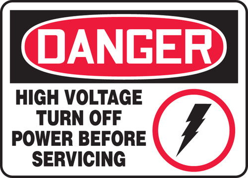 Danger - High Voltage Turn Off Power Before Servicing (W/Graphic) - Adhesive Vinyl - 7'' X 10''