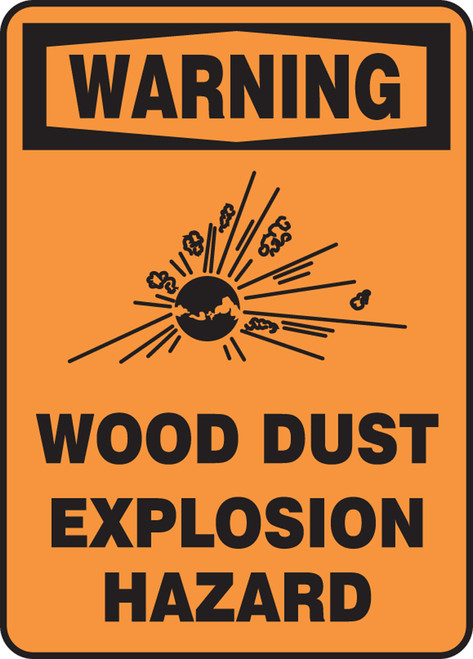 Warning - Warning Wood Dust Explosion Hazard W/Graphic - Adhesive Dura-Vinyl - 10'' X 7''