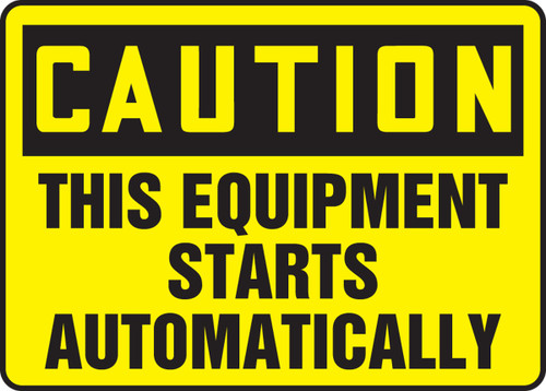 Caution - This Equipment Starts Automatically - Adhesive Dura-Vinyl - 12'' X 18''