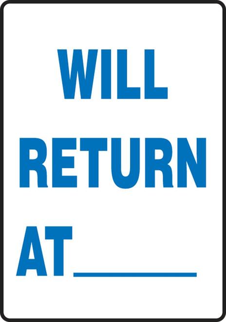 Will Return At ___ - Plastic - 14'' X 10''