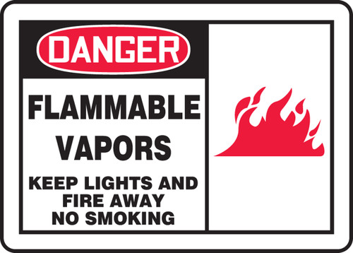 Danger - Flammable Vapors Keep Lights And Fire Away No Smoking (W/Graphic) - Dura-Plastic - 10'' X 14''
