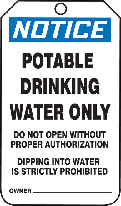 Notice Potable Drinking Water Only- Tags...- Cardstock- 25/pkg