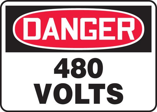 Danger - 480 Volts - Adhesive Dura-Vinyl - 10'' X 14''