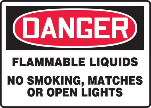 Danger - Flammable Liquids No Smoking, Matches Or Open Lights - Plastic - 7'' X 10''