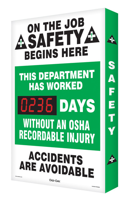 Digi Day Plus Outdoor Safety Scoreboard- On the Job Safety Begins Here SCM310