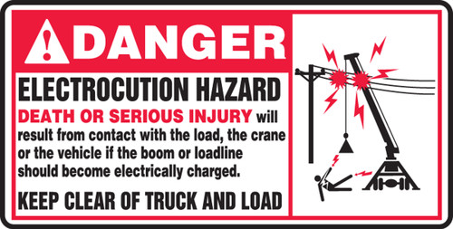 Danger - Electrocution Hazard Death Or Serious Injury....(W/Graphic) - Adhesive Dura-Vinyl - 7'' X 14''
