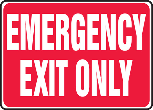 Emergency Exit Only - 10'' X 14'' - Aluminum Safety Sign