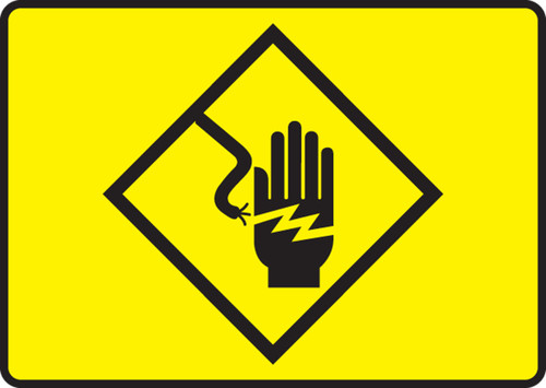 High Voltage Symbol  (Electric Hand Symbol) - Plastic - 7'' X 10''