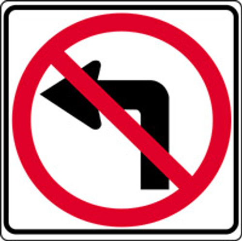 No Left Turn Arrow Sign- Pictorial
