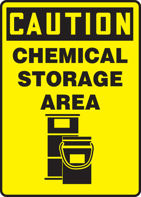 Caution - Chemical Storage Area (W/Graphic) - Adhesive Dura-Vinyl - 14'' X 10''