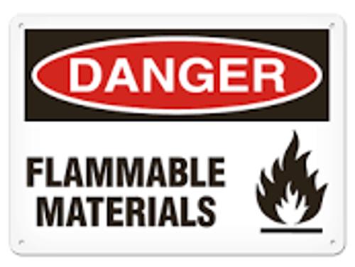 Danger - Flammable Materials - Adhesive Dura-Vinyl - 10'' X 14''