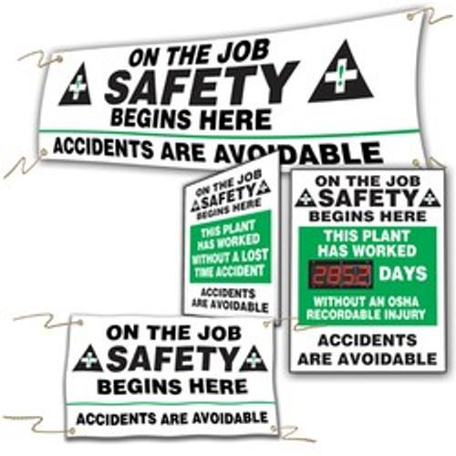 Safety Awarness Banner Set- On the Job Safety Begins Here- 4 pc set