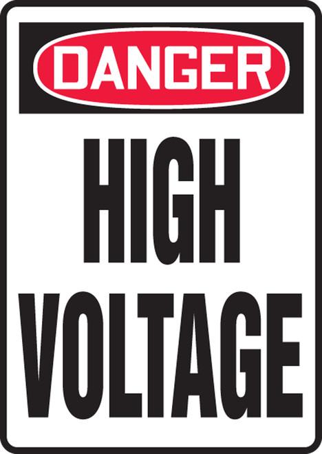 Danger - High Voltage - Adhesive Dura-Vinyl - 10'' X 14''