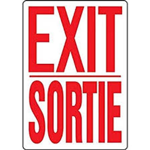 Exit / Sortie - Dura-Plastic - 10'' X 14''