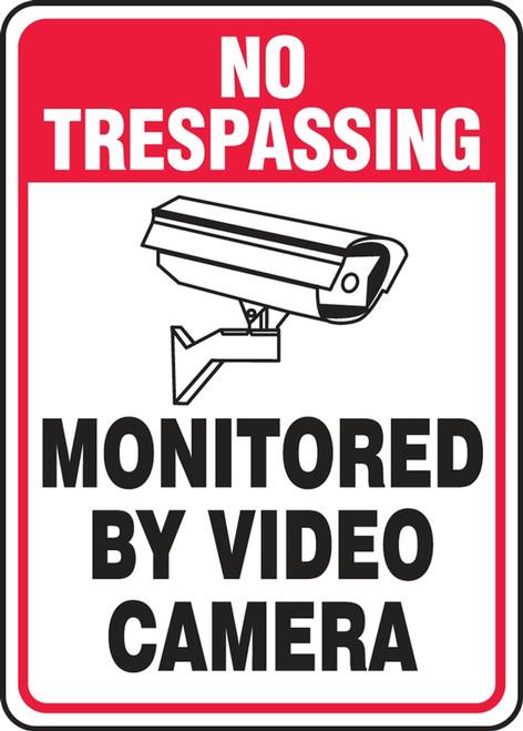 No Trespassing - Monitored By Video Camera (W/Graphic) - Adhesive Vinyl - 10'' X 7''