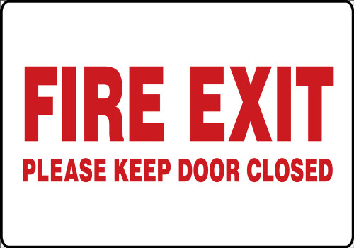 fire exit please keep door closed sign MEXT401 XL