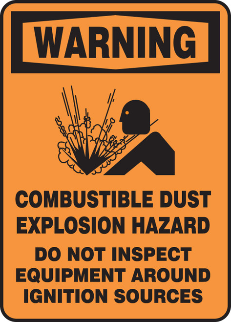 Warning - Warning Combustible Dust Explosion Hazard Do Not Inspect Equipment Around Ignition Sources W/Graphic - Adhesive Vinyl - 14'' X 10''