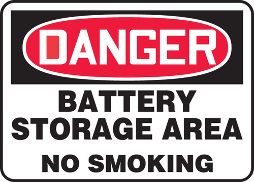 Danger - Battery Storage Area No Smoking - Dura-Fiberglass - 14'' X 20''