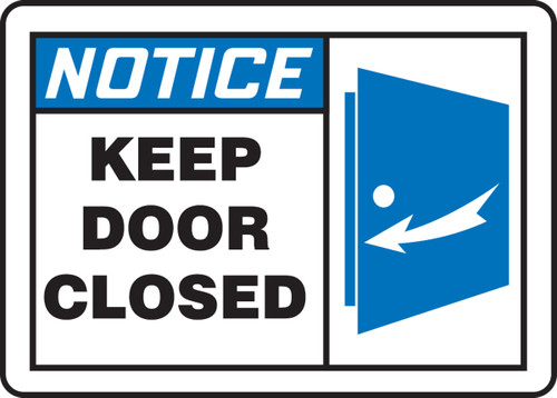 Notice - Keep Door Closed Sign with Graphic