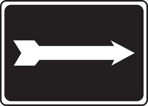 (Arrow - White On Black) - Dura-Plastic - 3 1/2'' X 14''