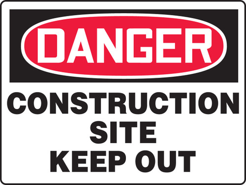 Danger - Construction Site Keep Out - Adhesive Vinyl - 18'' X 24''