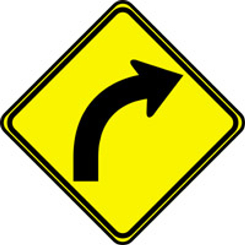 """Right Curve Arrow Pictorial Traffic Sign- 24"""" x 24"""""""