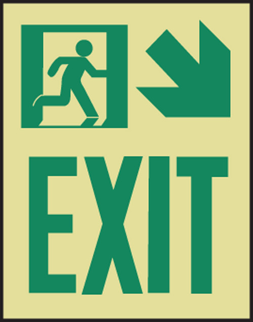 Exit Sign  Arrow Diagonal Down Right- Glow Sign