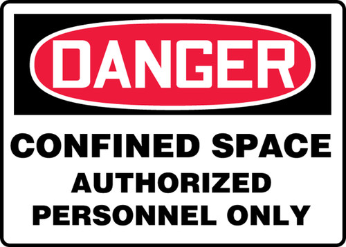 Danger - Confined Space Authorized Personnel Only - Adhesive Vinyl - 14'' X 20''